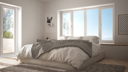 Scandinavian white minimalist bedroom with panoramic window, fur carpet and herringbone parquet, modern architecture interior design