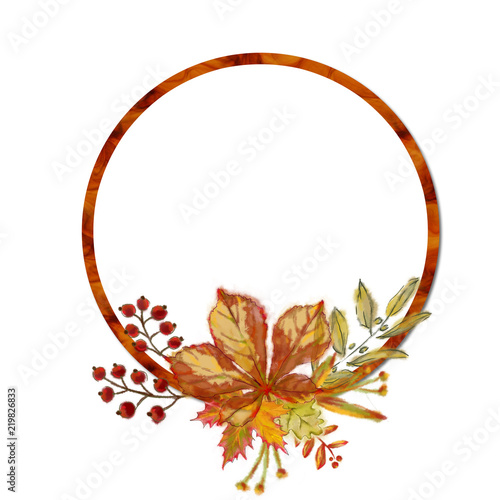 Autumnal Round Frame with Leaf Arrangement  Watercolor Botanical