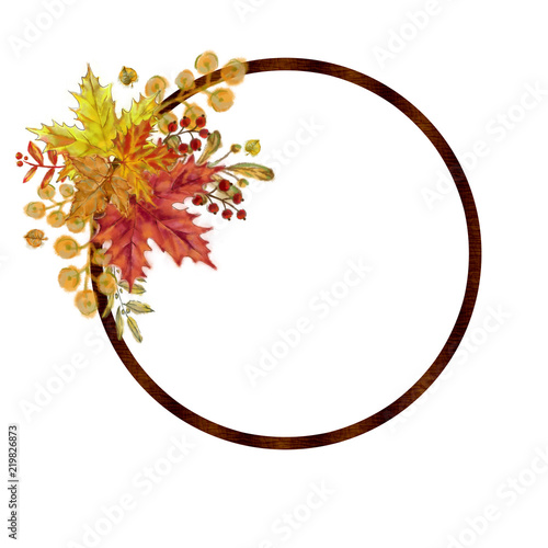 Autumnal Round Frame with Leaf Arrangement  Watercolor