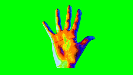 Animation of human hand in yellow tints