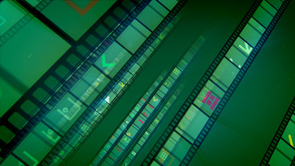 Vintage film stripes in green backdrop