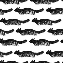 Seamless texture with Cat in a grass. Feline repeating pattern. Cute Cat background.