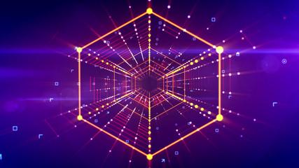 Sparkling futuristic hexagonal neon tunnel