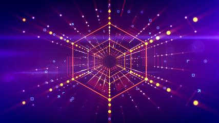 Fantasy hexagonal neon tube in cyberspace