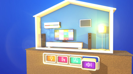 Smart house with switched on lamp, TV and bed