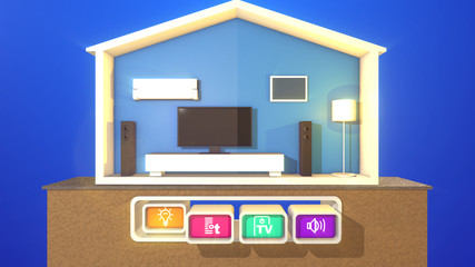 Smart house and one pressed icon