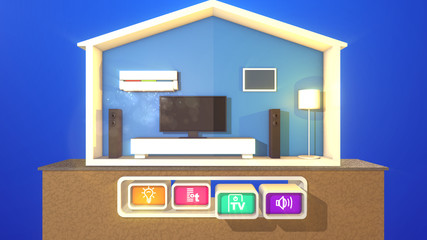 Smart house and two pressed buttons