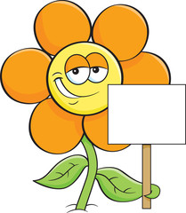 Cartoon illustration of a flower holding a sign.
