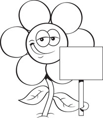 Back and white illustration of a flower holding a sign.