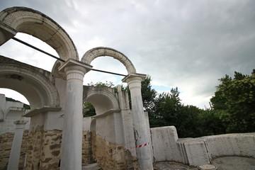 Ruins of Round (Golden) Church of St. John near The capital city of the First Bulgarian Empire Great Preslav (Veliki Preslav), Bulgaria
