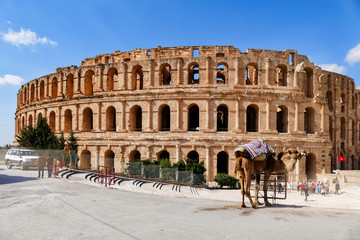 Photo sur Plexiglas Tunisie Amphitheatre of El Jem in Tunisia