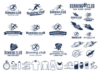 Running logo, icons and design elements