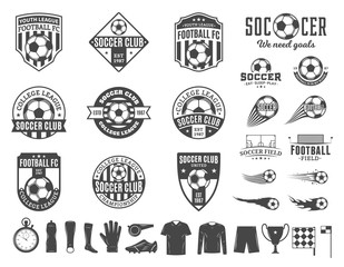 Set of vector football (soccer) club logo and  icons