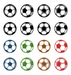 Vector football (soccer) balls icons