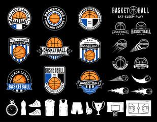 Set of vector basketball logo and  icons