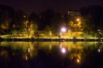 Limoges, France. Beauty of quiet pond and Park at night