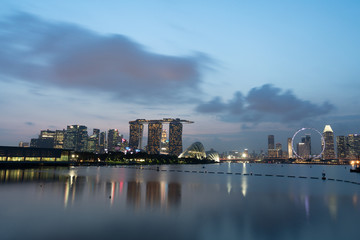 Marina Bay Financial Center,Singapore - August 18,2018 The group of building at marina bay financial center at sunset time.