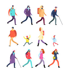 People in winter clothes. Cartoon man and woman, teenagers and children walking in cold season. Vector winter characters set