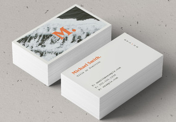 Business Card Layout with Ocean Photo