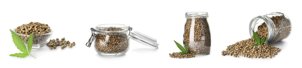 Set with hemp seeds on white background. Organic superfood