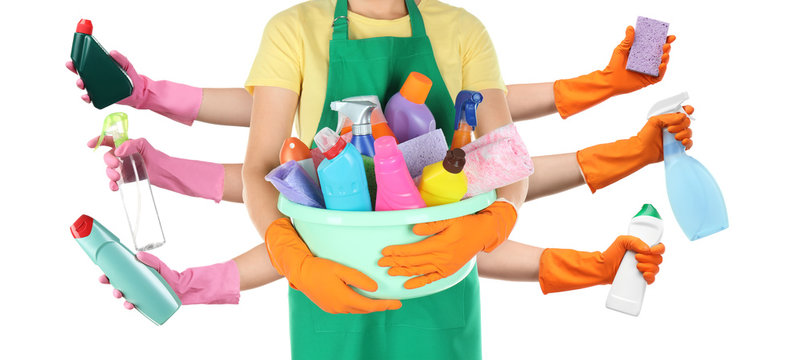 Collage with people holding different cleaning supplies in hands on white background