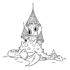 Dragon fairy security medieval castle animal cheerful cartoon illustration isolated image coloring page
