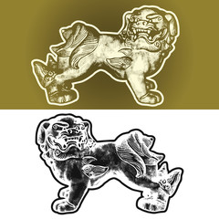 Oriental mythical symbol - Dogs Fu or Heavenly Lions of Buddha. Vector monochrome graphic illustration in vintage engraving style. East symbolic guard image.