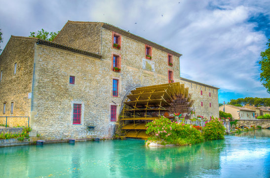 House with a water wheel, Luberon region, France