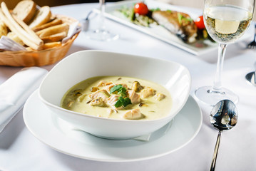 fish soup in the restaurant