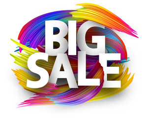 Big sale paper poster with colorful brush strokes.