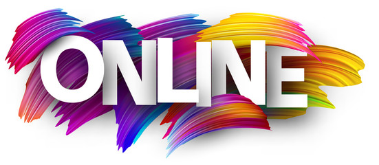 Online sign with colorful brush strokes.