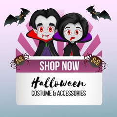 halloween theme shop with vampire couple