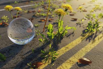 Glaskugel auf verlassener Strasse im Abendlicht. 3D Rendering