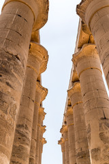 Karnak Temple - Pillars - Ancient Egyptian Monument. El-Karnak, Near Luxor, Egypt