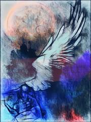 Angelo terreno, un angelo inginocchiato