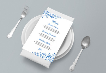 Wedding Menu Layout with Decorative Elements