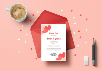 Wedding Invitation Layout with Heart Elements