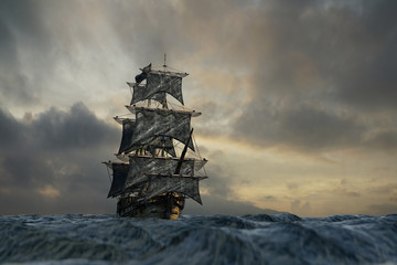 Fotorolgordijn Schip pirate ship sailing on the sea, 3D render