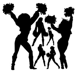 cheerleader silhouettes set