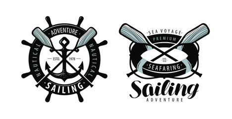 Seafaring, sailing logo or label. Marine concept. Typographic design vector