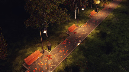 Overhead view of wet after rain park walkway lit by street lamps with empty benches, autumn trees and fallen leaves at dark autumnal night. 3D illustration.