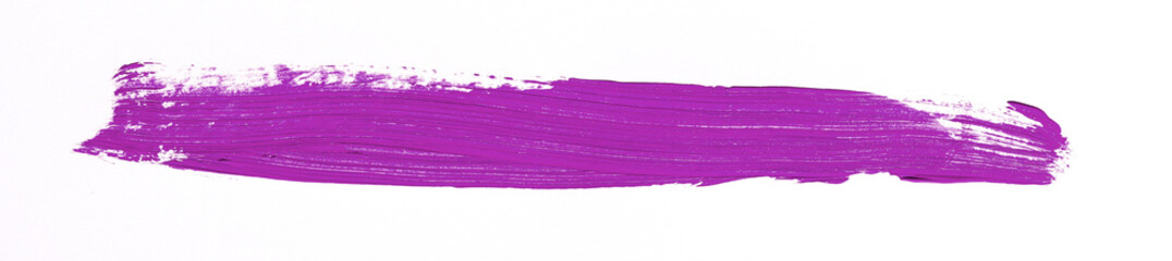 Purple brush stroke over white background
