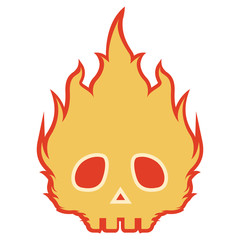 Spooky skull on fire icon