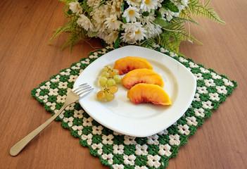 Fruit salad on handmade napkin