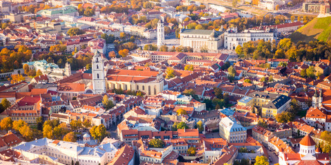 Beautiful aerial view of Vilnius city, Lithuania