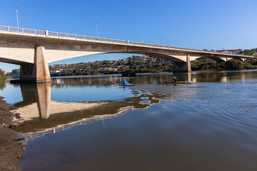 River Canoeing Paddlers Bridge Lagoon Landscape