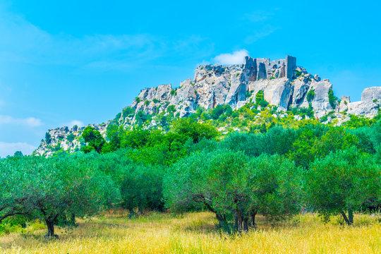 Chateau des Baux perched over Les Baux des Provence village in France
