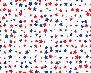 Seamless pattern with red and blue stars on white background