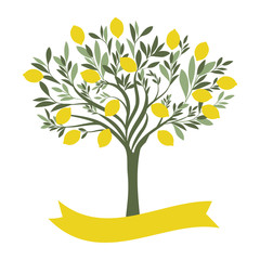 Vector illustration of lemon tree with blank label on white background