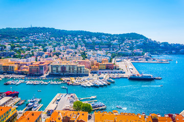 Foto op Canvas Nice Aerial view of Port of Nice, France